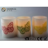 Quality Decoration Real Wax Electronic Candles with butterfly pattern , Carved Candles for sale