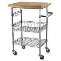Quality Chrome Finish Kitchen Wire Utility Cart With Wheels Multifunctional for sale