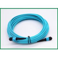Best Multimode OM3 MPO Fiber Optic Patch Cord 25m 12 Strand MTP Key Up To Key Down wholesale