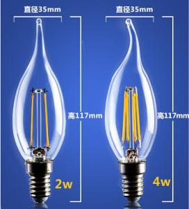 Quality 4W 6W C35 E14 Edison COG lamp LED Filament Bulb B22 G45 G95 ST64 bulb glass G125 for sale