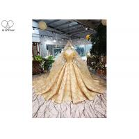 Quality Gold Unique Vintage Prom Dresses Beads Tassels Heart Shaped Bust Shiny Lace for sale