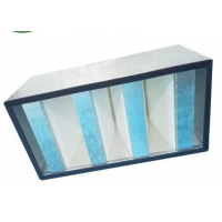 Quality Galvanized Frame Mini Pleat HEPA Filter / V Bank HEPA Filter For Clean Room for sale