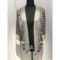 Quality Stripe Ladies Cardigan Sweater With Wool Nylon Alpaca Material 7 Big Gauge Size for sale