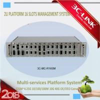 China 2U Height 16 Slots Fiber Optic Media Converter Rack Mount Chassis AC 220V DC 48V on sale