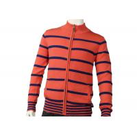 Quality Zipper Cardigan Sweaters Cute Orange Mens Striped Sweater Medium Cardigan for sale