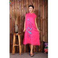 Quality Pink Chinese Embroidery Dress , L XL XXL Cotton Sleeveless Maxi Dress for sale