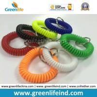 Quality Elastic Promotional Gift Multicolors Plastic Wrist Coil W/Key Ring for sale