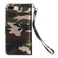 Camouflage IPhone Leather Wallet Case For Iphone 7 Plus Crazy Horse 64g