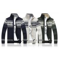 Quality Stand Collar Long Sleeve Mens Zip Up Cardigan Sweater With Jacquard Pattern for sale
