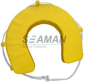 Quality Yellow / White PVC Horseshoe Lifebuoy Leisure Boat Yacht Lifesaving Ring for sale