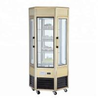 Quality 608L Fan Cooling Low Power Six - Sides Glass Refrigerated Cake Display Cabinets Cold Storage And Freezing for sale
