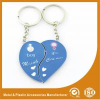 Quality Blue Personalized Heart Keychain Custom Metal Keychains For Birthday Keyring for sale