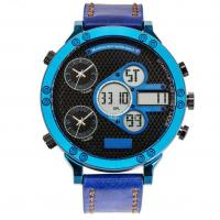 China Leather strap Three Time analog digital watch best mens sport watches on sale