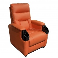 Quality Leatehr Recliner Orange Movie Cinema Sofa With Cup Sacuer For Theater, Home, Living Room for sale