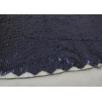 Quality Navy Sequin Mesh Fabric , Embroidered Lace Fabric By The Yard For Evening Dresses for sale