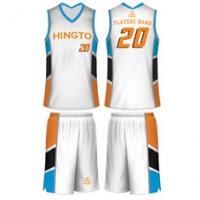 c4a34df81f5c China White   Blue   Orange   Black Customized Breathable Sublimated  Basketball Uniforms on sale .