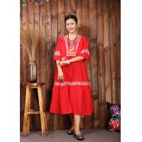 Quality Round Neck Chinese Embroidery Dress , Red Cotton Dress Lightweight For Women for sale