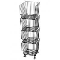Quality Galvanized Treatment Vegetable Display Rack  For Supermarket With Four Baskets for sale