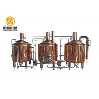 Quality 500L Brewpub And Micro Brewery Equipment Three Vessles Red Copper Material for sale