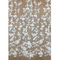 Quality Ivroy Color French 3D Floral Lace Fabric , High End Wedding Lace Fabric By The Yard for sale