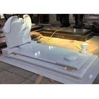Quality White Pearl Monument Grave Markers , Marble Sketch Simple Headstones For Graves for sale
