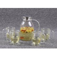 Quality 62 Oz Glass Tea Infuser Set Stainless Steel Cover With 4 Double Walled Cups for sale