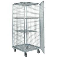 Quality Four Side Mesh 2 Shelves Wire Utility Cart , Tool Storage Wire Roll Cage for sale