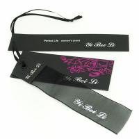 Quality Clothes Hang Tags Labels With Ribbon String For Lady Coat / Dress 4x8.5cm 5x9cm for sale