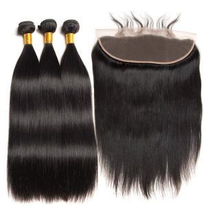 China Natural Black Real Straight Human Hair Extensions Bundles No Shedding on sale