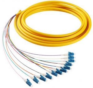 Quality 12 cores LC/UPC SM 9/125 fiber optic bundle pigtail yellow LSZH  out jacket for sale