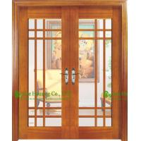 Wooden main entrance door design images for Double wood doors with glass