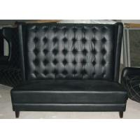 Best Contemporary Black Leather Restaurant Booth Furniture , Wooden Restaurant Booths wholesale