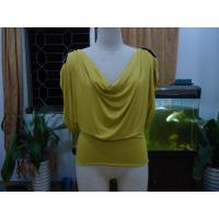 Quality Cosy Mustard Womens Fashion Tops Plus Size Drape Neck Tops With Sleeves for sale