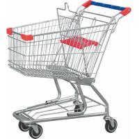 Low Carbon Steel American Grocery Shopping Trolley With Base Grid / Bottom Tray