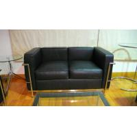 Quality 2 Seats LC2 Modern Classic Sofa Genuine Leather American Style Black for sale