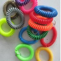 China Customized different color soft expanding wrist band coils key chains without key ring on sale