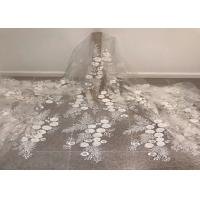 """Quality Off White Mesh 3D Flower Embroidery Beaded Lace Fabric 50"""" Wide 1 Yard for sale"""