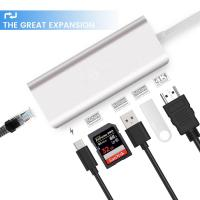 Quality 6 in 1 Type-C Hub to USB/card reader Converter USB3.0 Type C Hub Male to Card Reader for sale