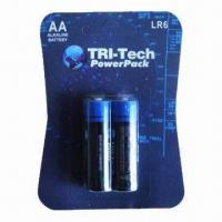 Quality Eco-friendly Alkaline Batteries with 1.5V Nominal Voltage and 1,650mAh Capacity for sale