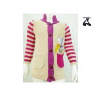 China Girls Cotton Cardigan Knit Sweater Striped Sleeves Stand Up Collar Soft and Warm on sale