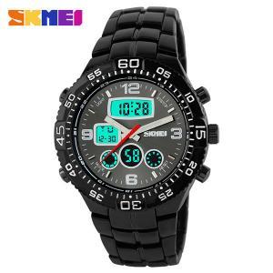 Quality El Back Light Metal Strap Big Size Analog Digital Wrist Watch For Men for sale