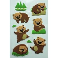Best Lovely Animal Style 3D Fuzzy PVC Dimensional Puffy Sticker with Glitter wholesale