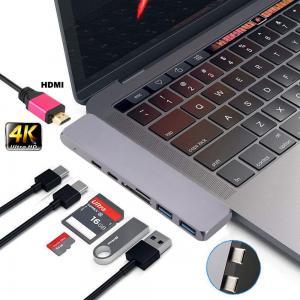 Quality Amazon 2018 Aluminum Thunderbolt 3 USB-C Hub USB Driver 7 Ports Dual Type C Hub 4KHDMI Type C 100W PD charging for sale