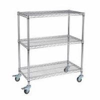 Quality Custom Size Wire Utility Cart With Wheels / 3 Shelf ESD Wire Shelving for sale