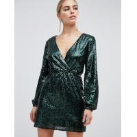 Buy cheap OEM sequin wrap front long sleeve green skater dress from wholesalers
