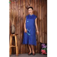 Quality Summer Blue Sleeveless Linen Dress , Embroidered Chinese Dress For Ladies for sale