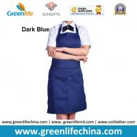 Quality Fashion popular advertising good polyester bib apron with dark blue color against dirty for sale