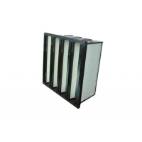 Quality Plastic Frame Dust Holding V Bank Air Filters With Fiberglass Medium Material for sale