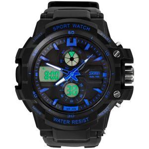 Quality Stopwatch Alarm Analog Digital Wrist Watch Quartz Digital Two Times Zone for sale