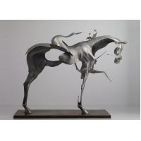 Quality 170cm Life Size Abstract Stainless Steel Horse Sculpture Brushed Finishing for sale